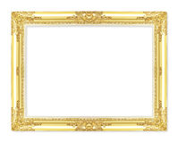 The antique gold frame on the white Royalty Free Stock Image