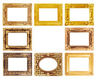 The antique gold frame on the white Royalty Free Stock Photo