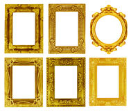The antique gold frame on the white Stock Images