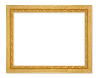 The antique gold frame on the white background Royalty Free Stock Images