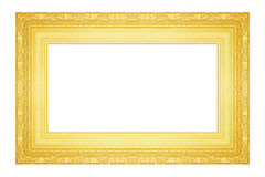 The antique gold frame on the white Stock Image