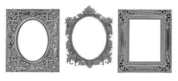The antique gold frame on the white background. Antique gold frame on the white background Stock Photos