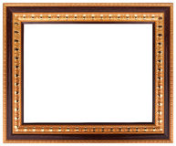 The antique gold frame on the white background. royalty free stock photos