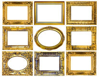 The antique gold frame on the white background Stock Photos