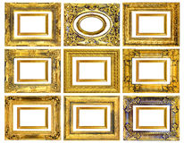 The antique gold frame on the white background Royalty Free Stock Photography
