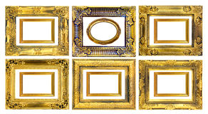 The antique gold frame on the white background Stock Photography
