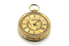 Antique gold ladies Pocket Watch. In need of restoration on a white background Royalty Free Stock Photo