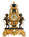 Antique Gold mantle clock. Isolated Royalty Free Stock Image