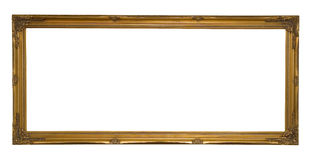 antique gold panoramic picture frame stock photo