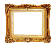 Antique of gold photo frame isolated clipping path. Royalty Free Stock Images