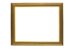 Antique Gold Picture Frame Isolated on White Stock Image