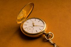 Antique Gold Pocket Watch. On brown leather background Royalty Free Stock Photos