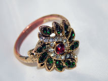 Antique gold ring with precious stones Stock Photo