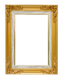 The antique gold vintage frame luxury isolated white background. Stock Photography