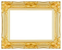 Antique gold and white frame isolated decorative carved wood stand royalty free stock photos