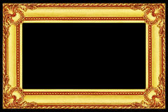 antique gold wooden frame isolated on black Stock Photo