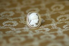 Antique golden cameo brooch with diamonds. Antique gold cameo pin on biedermeier background Stock Image