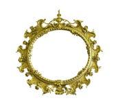 Antique golden ellipse frame isolated Stock Photos