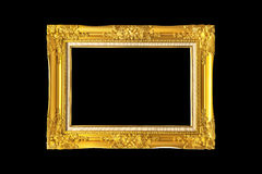 Antique golden frame isolated on Black background Stock Images
