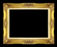 Antique golden frame isolated on black background Royalty Free Stock Photography