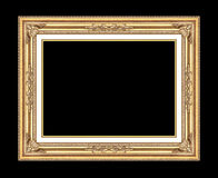Antique golden frame isolated on black Royalty Free Stock Photos