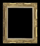 antique golden frame isolated on black background, clipping path Stock Photography