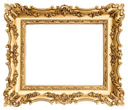 Antique golden frame isolated on white Stock Images