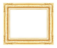 Antique golden frame isolated on white background Royalty Free Stock Photos