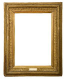Antique golden frame. Isolated on white background Stock Photo
