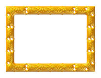 Antique golden frame isolated on white background Stock Photos
