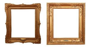 Antique golden frame isolated on white background. Antique old classic golden frame for paintings isolated on white background Stock Image