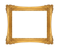 Antique golden frame isolated on white background. Old golden frame with empty grunge cracked canvas for your picture, photo, image. beautiful vintage background Stock Photography