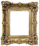 Antique golden frame  on white background Royalty Free Stock Photos