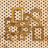 Antique golden framework over vintage polka dot Stock Photo