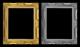 antique golden and gray frame isolated on black background, clipping path Stock Images
