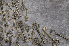 Antique golden keys Stock Photography