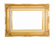 Antique golden photo frame on white background Stock Photo