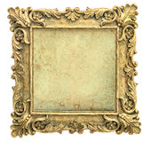 Antique golden picture frame with canvas on white background Royalty Free Stock Photo