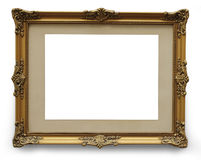 Antique golden picture frame with clipping path. Wooden frame isolated on white background Royalty Free Stock Photos