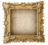 Antique golden picture frame grungy canvas. Antique golden picture frame with grungy canvas isolated on white background Stock Image