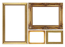 Antique golden picture frame isolated on white Royalty Free Stock Photo