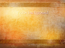 Antique golden wall in grunge style with meander.vector illustration Royalty Free Stock Photo