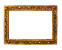 Antique golden wooden. Frame isolated on white background Royalty Free Stock Photos