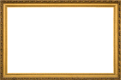 Antique golden wooden frame isolated on white background. Antique golden old broken cracked wooden frame isolated on white background Royalty Free Stock Photo