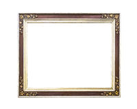 Antique golden wooden  frame isolated Stock Images