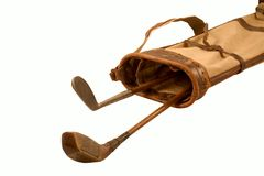Antique golf clubs. In A Old Golf Bag (With Clipping Path Royalty Free Stock Images