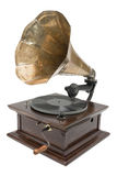 Antique gramophone. Isolated on a white background Royalty Free Stock Image