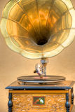 Antique gramophone. Record player with studio background Stock Photography