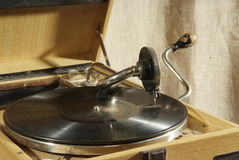 Antique gramophone. Record old shellac plate Royalty Free Stock Image