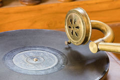 Antique gramophone. On the table in house Stock Photo